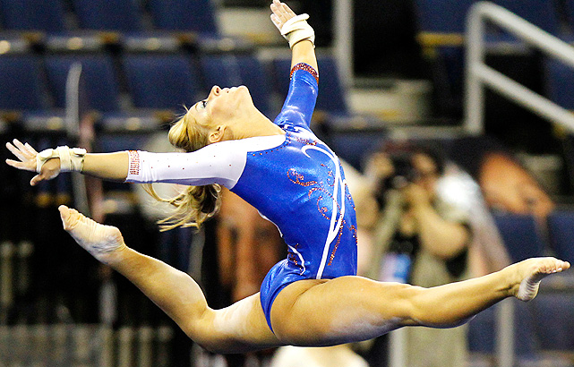 Florida's Randy Stageberg leaps as part of her floor routine, during the team semifinals. The Gators advanced to the Super Six final, and took the runners-up spot.