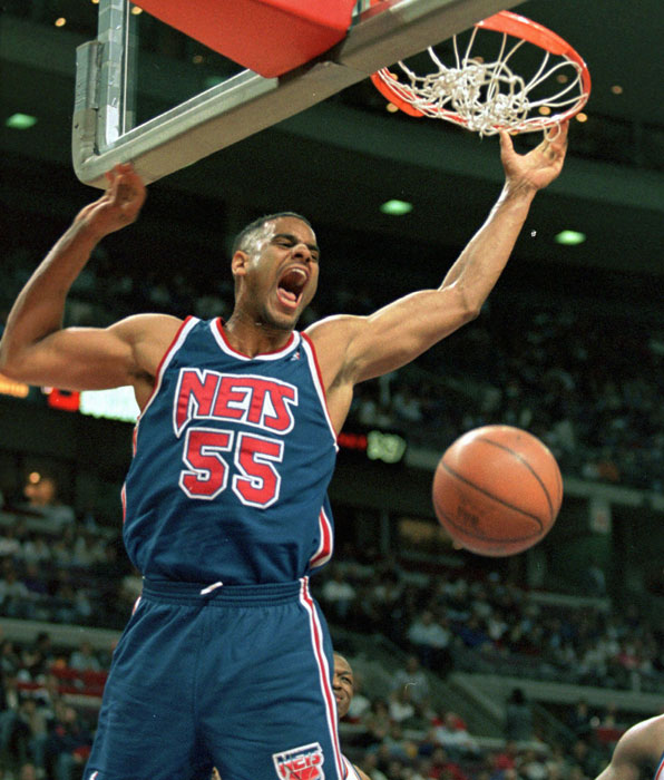 After two unsuccesful seasons in Philadelphia, the Nets acquired center Jayson Williams for two draft picks. After struggling in his first three seasons in New Jersey, Williams excelled in 1997-98, making the All-Star Game while averaging 12.9 points and 13.6 rebounds per game. He retired the following season after a career-ending leg injury.