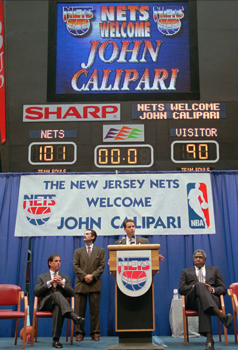 John Calipari is named the New Jersey Nets' new head coach and Executive Vice President of Basketball during a 1996 press conference. He compiled a 72-112 record in two-plus seasons before being fired and returning back to the college ranks.