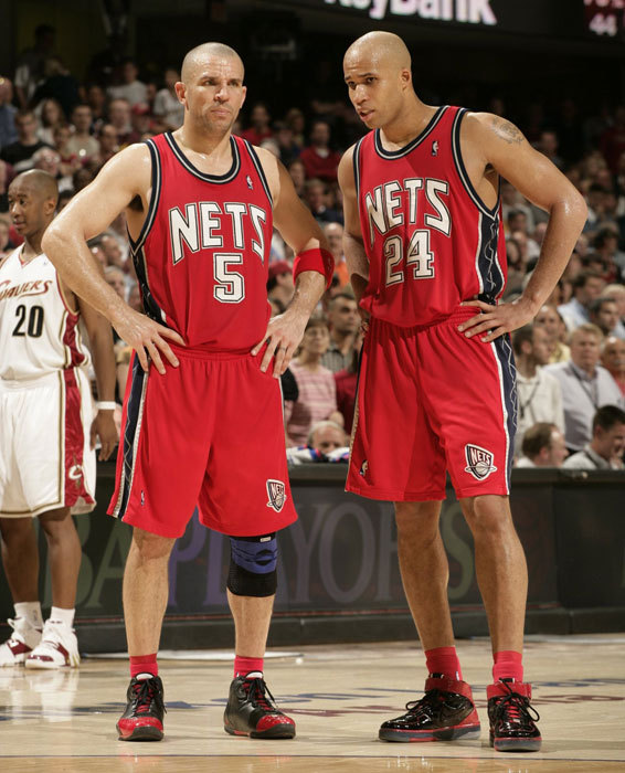 Jason Kidd and Richard Jefferson chat during Game 2 of the Eastern Conference semifinals.