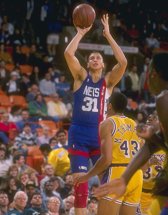After four injury-plagued seasons in Portland, Sam Bowie joined the Nets in 1989 in exchange for Buck Williams. In four seasons in New Jersey, Bowie averaged 12.8 points and 8.2 rebounds per game.