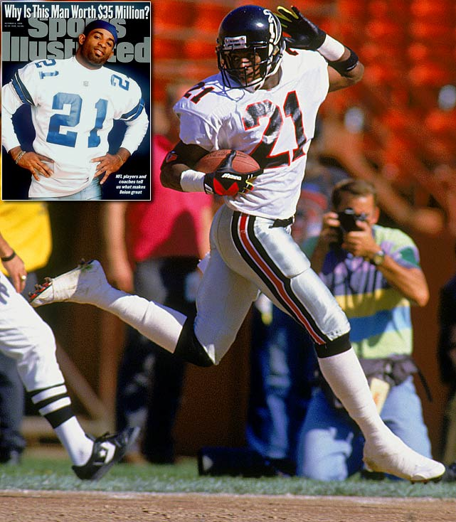 """Prime Time"" dominated the game on defense and special teams, scoring touchdowns as a kick returner, punt returner, cornerback and even as a wide receiver. <bold>His Credentials: </bold> Eight-time Pro Bowl selection, eight-time All-Pro, named to NFL's All-Decade Team for the 1990s, 53 career interceptions, more than 5,700 return yards, AP Defensive Player of the Year in 1994, two-time Super Bowl champion, elected to Hall of Fame in 2011, ranked No. 34 player of all time on NFL's top 100 list <bold>Others in Consideration: </bold> LaDainian Tomlinson (2001, Chargers); Junior Seau (1990, Chargers); Mike Haynes (1976, Patriots)"
