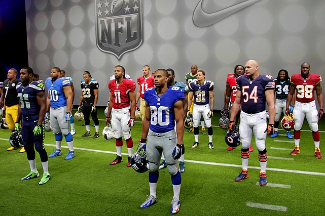 Going for a slightly sleeker look, the NFL has unveiled its new uniforms designed by Nike.  The league and Nike showed off the new gear in grand style Tuesday with a gridiron-themed fashion show at a Brooklyn film studio.