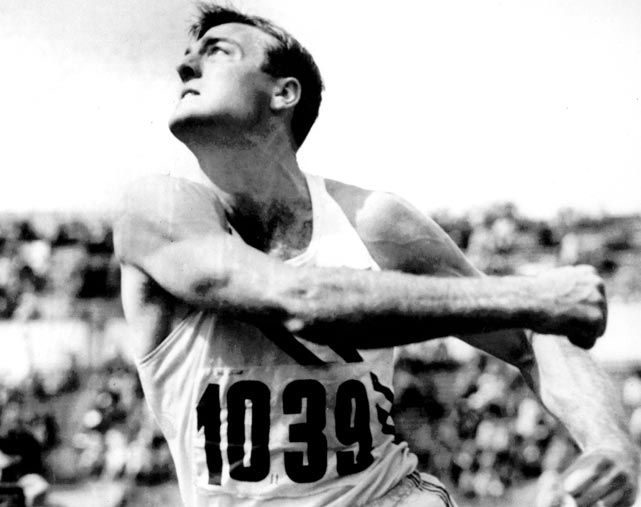 Despite having only competed in the sport for six months, Bob Mathias qualified for the U.S. Olympic decathlon team at the 1948 Games in London. It was obvious he knew little about the sport -- Mathias fouled out of the shot put and nearly missed the cut in the high jump. But his performances in the other events were so strong that he easily won the gold medal, becoming the youngest gold medalist ever in a track & field event. Four years later, Mathias won the decathlon by an astonishing 912 points to become the first to win back-to-back Olympic gold medals in the decathlon.