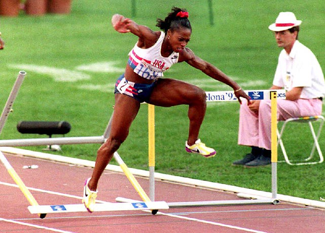 "It was the best of times and it was the worst of times for Gail Devers at the 1992 Games in Barcelona. After overcoming Graves' disease in 1990, Devers traveled to Barcelona with a chance to win gold in both the 100 meters and the 100 hurdles. She fulfilled her promise in the 100, besting Jamaican Juliet Cuthbert in a spectacular photo finish, but the 100 hurdles proved to be a crushing defeat. After leading the majority of the race, Devers tripped on the final hurdle and fell to fifth place, her second gold vanishing in front of her eyes. But given the adversity she had already overcome in her life, Devers remained optimistic. ""It just wasn't meant to be,"" she said of the hurdles later."