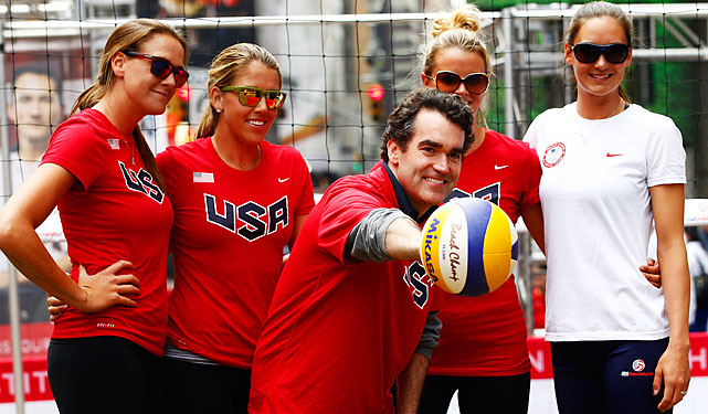 Actor Brian d'Arcy James meets with Olympic volleyball hopefuls Jess Gysin, Jennifer Fopma, Whitney Pavlik and Christal Engle.