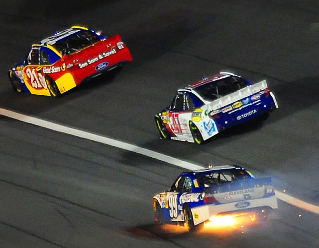 Carl Edwards, who won the 2011 All-Star race, blows an engine on lap 25. Edwards was looking to become the first repeat champion at the All-Start event since Davey Allison did it in 1991 and '92.