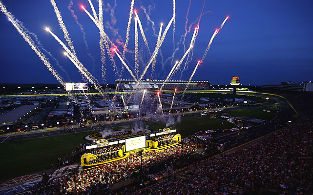 Fireworks explode over the Charlotte Motor Speedway during driver introductions prior to the Sprint Cup Series All-Star race.