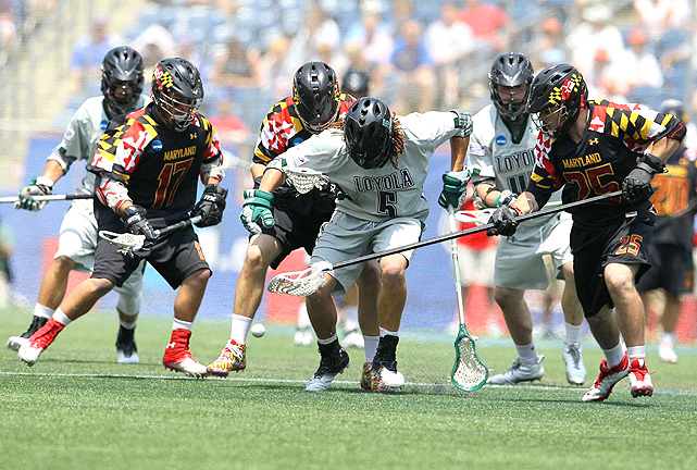 Loyola junior Josh Hawkins (center) chases the ball against a group of Terrapins defenders.
