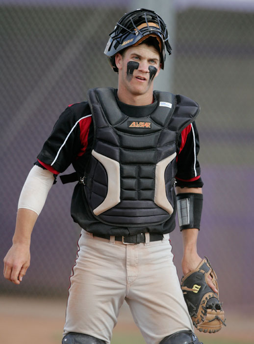 Harper, 16, warms up behind the plate during a high school game between Las Vegas and Chatsworth (Calif.). Playing for Las Vegas High in 2009, Harper hit .625 with 14 home runs, 55 RBIs and 36 stolen bases.