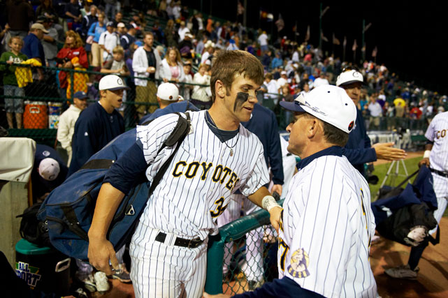 Harper talks to a teammate during the 2010 NJCAA World Series. Harper was named the 2010 SWAC (Scenic West Athletic Conference) Player of the Year but was forced to watch the Coyotes' loss in the World Series when he had to serve a two-game suspension for arguing balls and strikes.