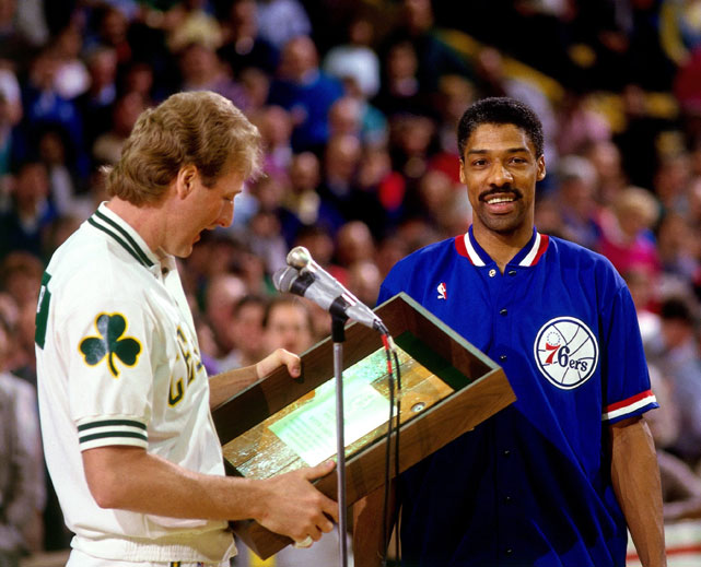 Larry Bird presents an award toulius Erving #6 before a 1985 Celtics-Sixers game in Boston. In addition to two ABA Championship titles and the 1983 NBA Championship title, Erving was a two-time ABA Most Valuable Player award recipient in 1974 and 1976 and later earned the title of the NBA's Most Valuable Player in 1981 with the 76ers.