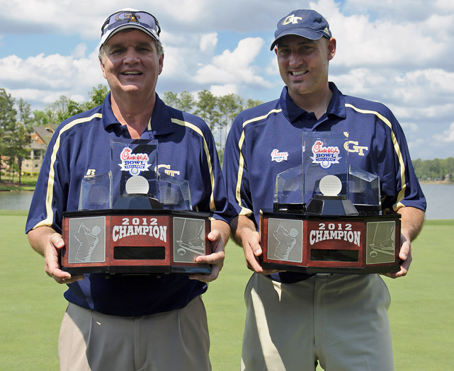 Georgia Tech's Paul Johnson and Jon Barry successfully defended their challenge title, finishing at 10-under, one shot ahead of the teams from Florida State and Maryland.
