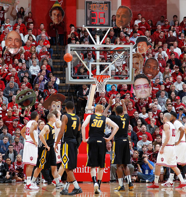 Indiana fans can take credit for this missed free throw by Iowa's Melsahn Basabe.