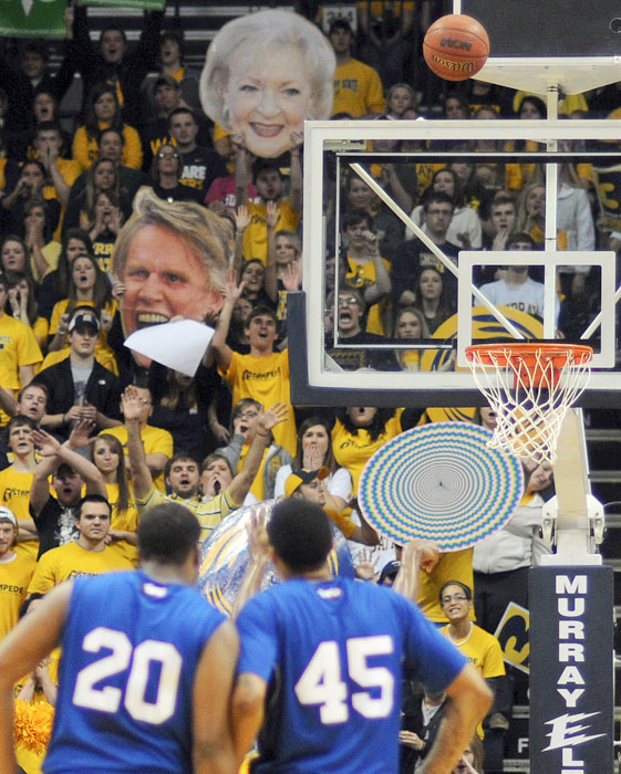 The odd couple of Gary Busey and Betty White distract a Tennessee State shooter during a Feb. 2012 game against Murray State.