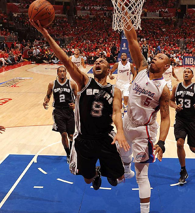 San Antonio guard Tony Parker leaps towards the basket with a yell in Game 3 of a second-round matchup against the Los Angeles Clippers.