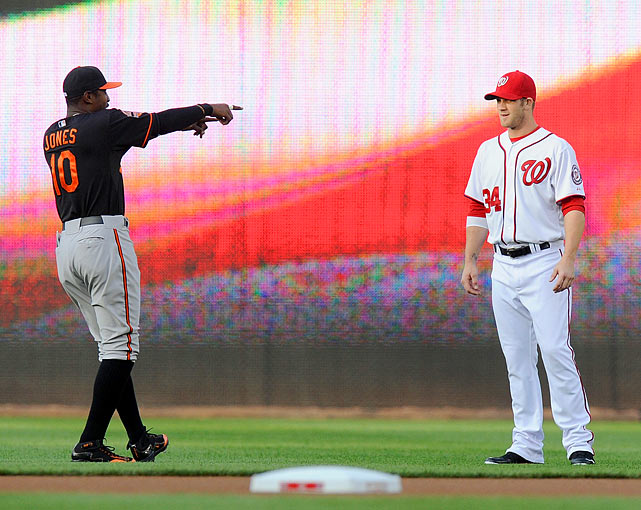 Baltimore's Adam Jones and Washington's Bryce Harper, the teams' two brightest stars, meet up prior to the first game of the series.