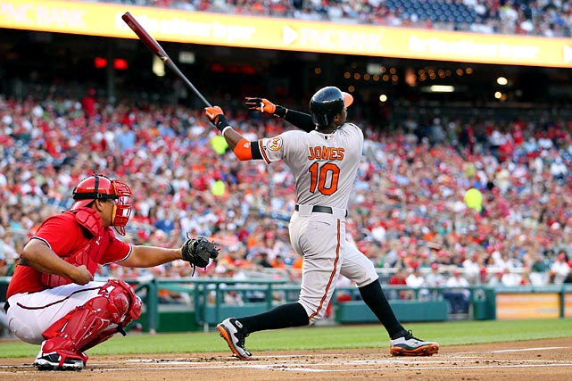 Adam Jones hit his 14th home run of the year in the third, a two-run shot that landed just over the Orioles' bullpen in left field. The Orioles are 13-1 when Jones homers.
