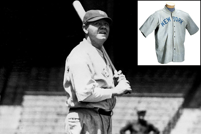 A baseball jersey worn by The Bambino sold for more than $4.4 million on May 20, 2012, a record for any item of sports memorabilia, according to the buyer and seller. SCP Auctions, based in California, said the circa 1920 New York Yankees uniform top is the earliest known jersey worn by Ruth.  Here are some of the other most expensive sports memorabilia ever sold, mostly from America's pasttime and a lot of which pertains to the Babe. (Send comments to siwriters@simail.com)