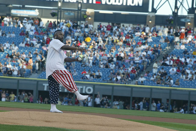 Chicago native Mr. T throws out the first pitch at a 2005 Red Sox-White Sox game.