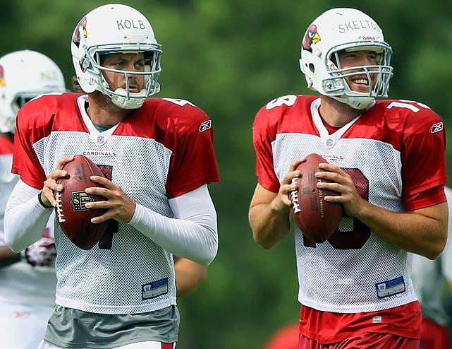 An offseason of intriguing player movement has left many teams uncertain about their starting quarterback. With organized team activities and  training camps still to come, here are seven quarterback battles that  must be settled between now and NFL Week 1:    Overview:  Being paid like a franchise quarterback has not helped Kolb perform like one. Durability and consistency remain issues. The Cardinals were 3-6 when Kolb started last season; they were 5-2 when Skelton did. With a full season to immerse himself in the Cardinals' offense, the time has come for Kolb to take charge, if he is ever going to.   Prediction:  Kolb will win the job, but the key is to play better and stay healthy once the season starts. The Cardinals drafted wide receiver Michael Floyd to pair with Larry Fitzgerald. For Kolb, there are no more excuses.