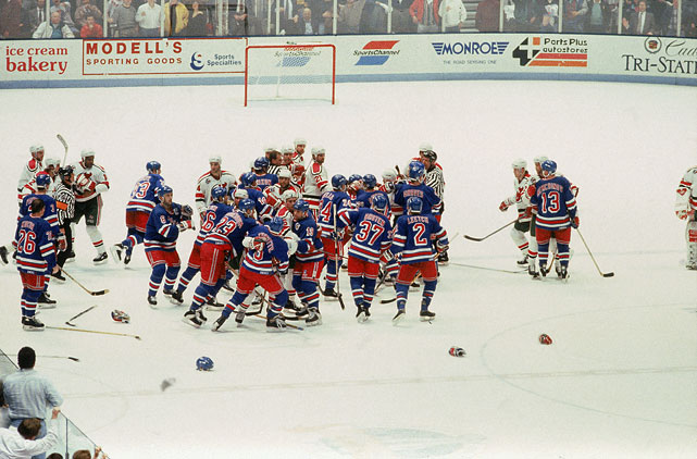 "The first playoff meeting between the teams went the distance.  The Presidents' Trophy-winning Rangers emerged victorious, but Devils goalie Martin Brodeur said the seeds of his deep, ongoing dislike of the Blueshirts were planted. ""We had big brawls and everything,"" Brodeur recalled to NJ.com. ""Mike Richter and (John) Vanbiesbrouck were there [playing goal] with the Rangers. I was on the bench and in the locker room. I got to hate the Rangers early on."""