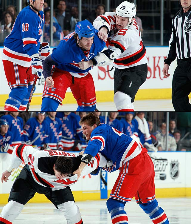 "The season series had been notable for its fights at the start of games and tensions erupted yet again in the final regular-season meeting between the Atlantic Division rivals on March 19, 2012. Devils coach Pete DeBoer put enforcers Cam Janssen, Eric Boulton and Ryan Carter in his starting lineup, and the Rangers' John Tortorella countered with Brandon Prust, Mike Rupp and Stu Bickel. Naturally, a line brawl ensued and it was followed by a war of words between the coaches in which Tortorella tartly advised DeBoer to ""shut up."""