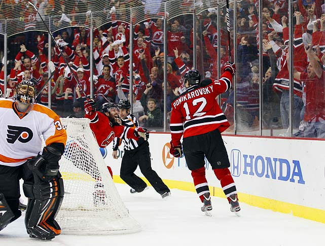 On the evening of January 20, 2012, the Devils sent minor league defensemen Joe Sova and a fourth round draft pick to Carolina for valuable forward Alexei Ponikarovsky. During the playoffs, he would become absolutely clutch, scoring the Game 3 overtime winner against Philadelphia in the second round and assisting on Adam Henrique's series-clinching Game 6 overtime goal against the Rangers.