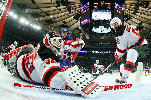 This much-anticipated battle between the Devils and archrival New York was laden with comparisons to the legendary 1994 Eastern final in which the Mark Messier-led Rangers shocked New Jersey by taking the series in seven dramatic games after being in a 3-2 hole. (Martin Brodeur was the only player on either team who actually played in that series.) Through four games, the adversaries battled to a 2-2 tie, the Rangers propelled by Henrik Lundqvist's two shutouts, the Devils predominantly by their electric fourth line. In Game 5, the Rangers battled back from an early 3-0 deficit to tie the game at 3 in the third period. But a Kovalchuk forecheck, a Gionta pass, and a Ryan Carter tap-in stole the game, 4-3. The Devils exorcised the demons by finishing off the Blueshirts in overtime of Game 6.