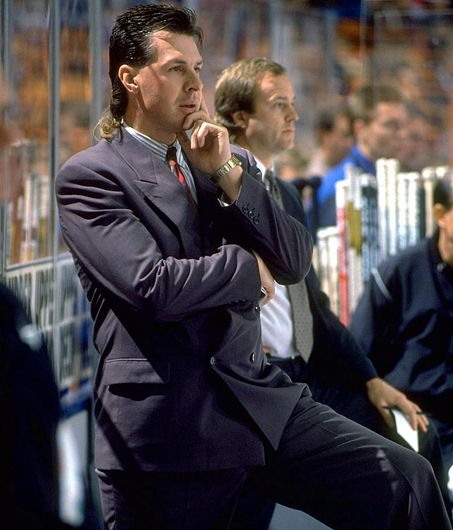 The man with hockey's most famous mullet was appointed the Kings' head coach before the 1992-1993 season and guided a team with legends such as Wayne Gretzky, Jari Kurri, and Luc Robitaille to the Stanley Cup Final. After failing to make the playoffs during the next two seasons, Melrose was dismissed, but he moved on to greater fame as a hockey analyst for ESPN.