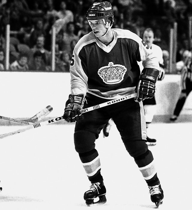 "Drafted by the Kings fourth overall in 1980, Murphy set an NHL record for assists (61) and points (76) by a rookie blueliner and narrowly missed winning the Calder Trophy. In 1982, he was part of the Kings' ""Miracle on Manchester"" team along with Marcel Dionne, Dave Taylor, Charlie Simmer and Bernie Nicholls that upset Wayne Gretzky's favored Oilers in a five-game first-round playoff series that included a stunning 6-5 OT victory in Game Three after the Kings fell into a 5-0 hole by the end of the second peiiod. Murphy6 played just over three seasons for the Kings before being traded to Washington. His Hall of Fame career included four Stanley Cups (two with Pittsburgh, two with Detroit.)"
