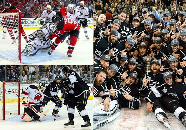 After taking a 3-0 series lead and then losing two potential clinching games, the Kings finished ferociously at Staples Center just when the sixth-seeded Devils appeared to have a chance for one of the biggest comebacks in finals history. One penalty abruptly changed the tone of the series. Brown, Carter and Lewis scored during a five-minute power play in the first period after Steve Bernier was ejected for boarding Rob Scuderi, leaving the veteran defenseman in a pool of blood.  Jonathan Quick took it from there, finishing a star-making two months by allowing just seven goals in six finals games.  Quick was awarded the Conn Smythe trophy for postseason MVP.