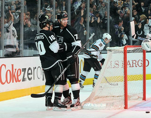 Four days before the Feb. 27  trade deadline, the Kings sent defensemen Jack Johnson and a conditional first round draft pick to the Columbus Blue Jackets in exchange for one-time 46-goal scorer Jeff Carter, who also happens to be Mike Richards' old running mate in Philadelphia.  After battling injuries throughout the season, Carter performed admirably, posting nine points in 16 regular season games with the Kings and is having a solid playoffs thus far: seven points in 13 games, including a hat trick.