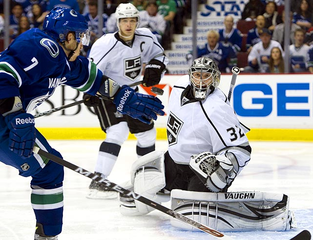 Entering the playoffs as the eigh seed in the West, the Kings drew the Presidents' Trophy-winning Canucks in the first round. In a shocking domination, the Kings ousted them in five games after taking a 3-0 series lead. Goaltender Jonathan Quick stifled the explosive Vancouver offense as he surrendered only eight goals while recording a shutout, posting a .953 save percentage. Captain Dustin Brown led the Kings' offense with four goals and an assist.