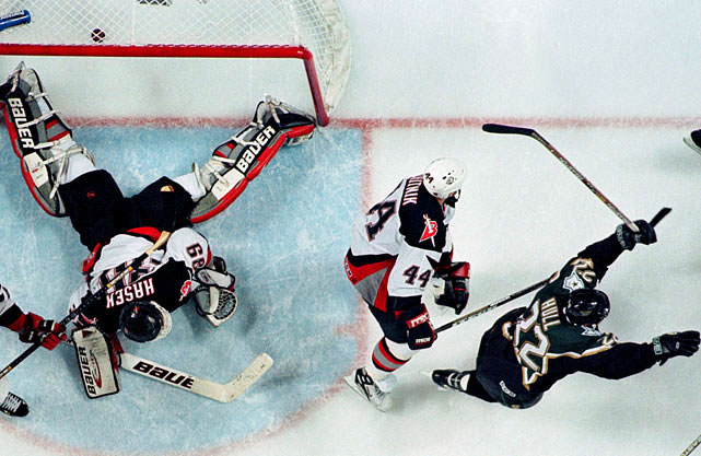 "The seventh-seeded Sabres finished fourth in the Northeast Division at 37-28-17, but rode the goaltending of Dominik ""The Dominator"" Hasek past Ottawa (2) in a sweep, Boston (6) in six, and Toronto (4) in five. Alas, Buffalo's dream of capturing its first Stanley Cup was infamously crushed in Game 6 of the final when Brett Hull of the Presidents' Trophy-winning Stars scored his ""foot-in-the-crease"" goal at 14:51 of the third overtime, ending what was the second-longest game in championship series history."