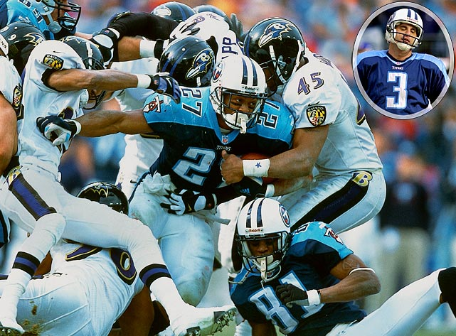 Tennessee ran into division rival Baltimore and an all-time great  defense in its divisional playoff game. Baltimore dominated the Titans'  offense, holding Eddie George to 3.4 yards per carry and Steve McNair to  24-for-46 passing. With the game tied 10-10 in the fourth quarter, Al  Del Greco's field goal attempt was blocked and returned 90 yards for a  go-ahead touchdown. Later, a McNair pass to George bounced off the  running back's hands, and Baltimore linebacker Ray Lewis, the league's  defensive player of the year, returned the interception for a touchdown.  The Titans' defense was also strong, holding Trent Dilfer to 5-for-16  passing, but it wasn't enough against the eventual Super Bowl champions.
