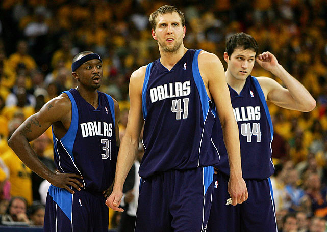 Dallas drew its nightmare matchup in the first round: Ex-coach Don  Nelson and the Warriors had won five straight over the Mavericks. Golden  State's success continued in the series as the Mavericks became the  first team with more than 65 wins in a season to be eliminated in the  first round. Dallas star Dirk Nowitzki was widely criticized for his  playoff performance, especially his 2-for-13 shooting in the Warriors'  25-point win in Game 6 to close the series.