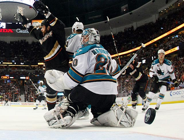 "San Jose's home-ice advantage didn't last long. No. 8 seed Anaheim swept  the first two games of the series on its way to eliminating the Sharks.  San Jose was shut out twice in the series, after being shut out only  three times in the entire regular season. ""Did we get what we deserved?  We could have played better, obviously, in some games,"" Sharks coach  Todd McLellan told reporters after his team was eliminated."