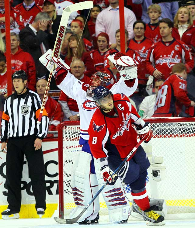 "The President's Trophy winner jumped out to a three-games-to-one lead in  its opening round series with the Canadiens. But the Capitals scored  only one goal in each of the final three games as the No. 8 seed downed  the Cup favorites. Montreal goalie Jaroslav Halak put on a clinic in the  final three games, recording 141 saves over those three contests.  ""It'll be on ESPN Classic tomorrow as one of the greatest goalie  performances,"" Halak's teammate Mike Cammalleri said after the goalie's  53-save performance in Game 6."