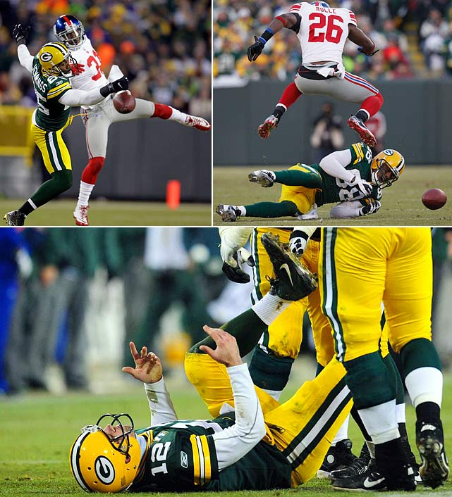 Green Bay flirted with a perfect regular season behind MVP Aaron  Rodgers, but the Giants and quarterback Eli Manning were clearly the  stronger team in a 37-20 win at Lambeau Field in the Divisional playoffs. Manning threw for 330 yards and three touchdowns, and New  York's defense repeatedly attacked Rodgers, who never got comfortable in  the pocket. The Giants sacked Rodgers four times and recovered three fumbles. New York went on to beat New England in Super Bowl XLVI.