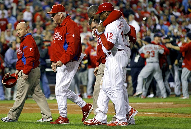 Philadelphia won a major league-best 102 games during the regular  season, but the team was designed for success in the postseason behind  its deep rotation. The opposing Cardinals found enough offense to split the first four games of the series, though, setting up a winner-take-all matchup between aces. St. Louis star Chris Carpenter outdueled Roy Halladay in a 1-0 win in Game 5. The only run of the game came in the  top of the first when Skip Schumaker doubled home Rafael Furcal. Ryan Howard grounded out to end the game and suffered a torn Achilles tendon coming out of the batter's box-- he limped a couple of steps and crumpled to the ground as St. Louis started to celebrate.  The Cardinals went on to win the World Series.