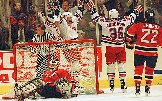 "The Rangers rebounded two nights later. Richter made 16 saves, a fairly easy route to his fourth shutout of the playoffs. Mark Messier (center) found the net 1:13 into the game and was joined on the scoresheet by Glenn Anderson, Adam Graves and Sergei Nemchinov. ""We let (Game 1) slip away,"" Richter told the AP, ""we were determined not to let it happen tonight."""