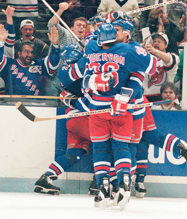 Stephane Matteau scored 6:13 into the second overtime to restore the Rangers' home-ice advantage. Of course, he was just getting started in this series. Martin Brodeur was valiant in defeat, stopping 47 of 50 shots.