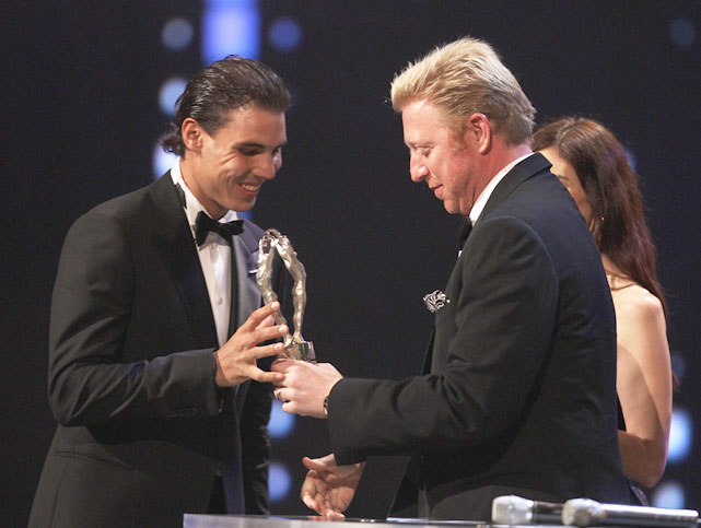 Boris Becker hands Nadal the Laureus World Sportsman of the Year Award.