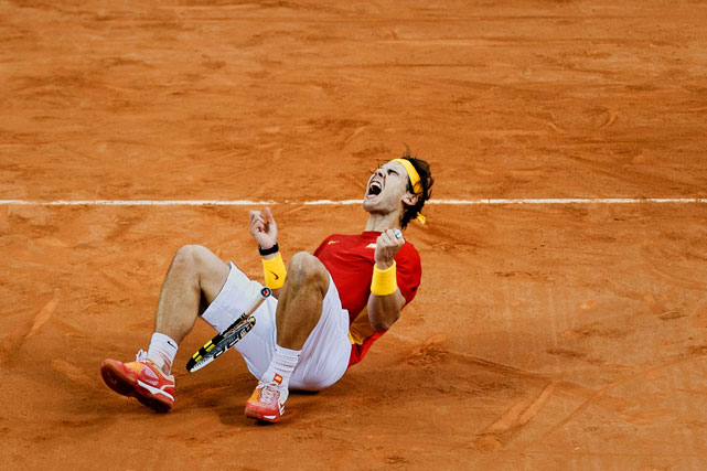 After admitting he had lost passion for the game, Nadal rolls in the red dust after leading Spain to a Davis Cup title. That'll spark some energy.