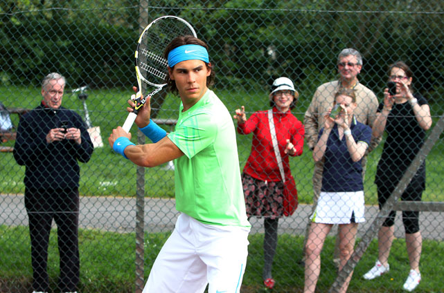 FAKE-OUT! A wax figure of Nadal fools casual onlookers.