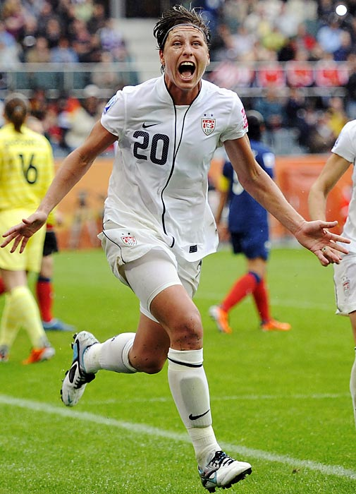 It's no pun to say Wambach plays head and shoulders above the competition. That's where the 5-foot-11 forward, famed for her aerial attacks. In 2004, Wambach headed a goal in extra time to give the U.S. a 2-1 win over Brazil and the gold medal in the World Cup. In the quarterfinals of the 2011 World Cup, she scored on another header, pushing the U.S. past Brazil again.  The five-time U.S. Soccer Athlete of the Year led the now-defunct Washington Freedom to the WUSA's Founder's Cup title in 2004. At the University of Florida, Wambach set school records for goals (96), assists (49), points (241), game-winning goals (24) and hat tricks (10).