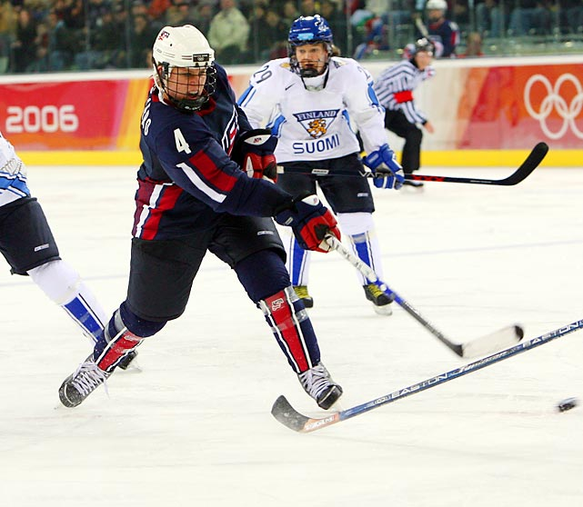 The all-time leader in games played for Team USA helped the country win the first gold medal in Olympic history at the 1998 Games. She continued steering the U.S. team in the next three Olympics, guiding it to two silver medals, one bronze and three world championships. In 2003, The Hockey News named her the No. 1 women's hockey player in the world. At Harvard, Ruggiero won the Patty Kazmaier Award in 2004, given to the nation's top female college hockey player. She made history in 2005 when she took to the ice for the Tulsa Oilers, becoming the first woman to play in a men's game at a position other than goalie.
