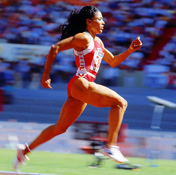 At the 1988 Olympics, all eyes were on Flo-Jo not just for her style, but also for her athletic performance. She won gold in the 100 and the 200 meters in world record times, both of which still stand. Flo-Jo died of a heart seizure a decade later.