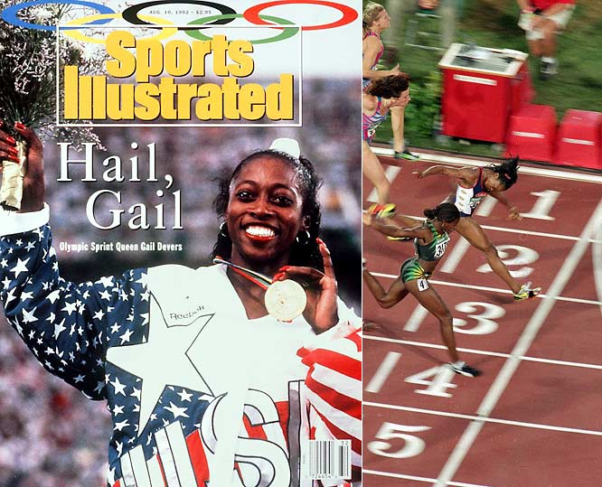 "Most people know Gail Devers as ""the sprinter with the long fingernails."" Well, she didn't let her fingernails get in the way of winning back-to-back Olympic gold medals in the 100 meters in 1992 and 1996 (however, she did have to alter her start to accommodate them). Devers also ran on the gold-medal-winning 4x100 meter relay in 1996. Even though her favorite event was the hurdles, she never made it to the Olympic podium in that discipline."